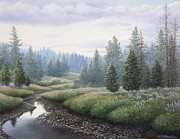 Riverbed Paintings - Mountain Meadow by Mike Stinnett