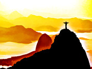 Mountains Digital Art - Mountain of Corcovado by Lyriel Lyra
