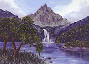 Swimming Hole Paintings - Mountain Peak by Val Miller