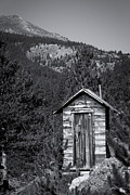 Ghost Town Outhouse Prints - Mountain Privy BW Print by Julie Magers Soulen