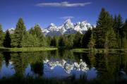 Snow Capped Mountains Posters - Mountain Reflections Poster by Andrew Soundarajan