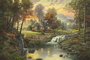 Canoe Waterfall Framed Prints - Mountain Retreat Framed Print by Thomas Kinkade