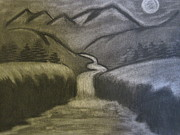 Landscapes Jewelry Prints - Mountain River Print by Melissa Kimsey