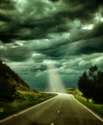 Badlands Photos - Mountain Road with Stormy Sky by Jill Battaglia