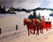 Peggy Miller Posters - Mountain Sleigh Ride  Poster by Peggy Miller