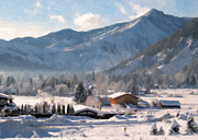 Snowscape Painting Posters - Mountain Snowscape Poster by Danny Smythe