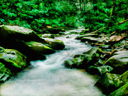 Fresh Green Framed Prints - Mountain Stream Framed Print by Darren Fisher