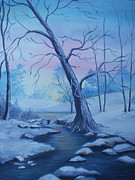 Snowy Trees Paintings - Mountain Stream  by Glenda Barrett