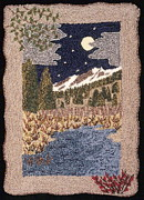 Night Scenes Tapestries - Textiles Prints - Mountain Stream Print by Jan Schlieper