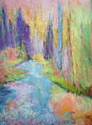 Stream Pastels Posters - Mountain Stream Poster by Nancy Jolley