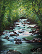 Mountain Stream Paintings - Mountain Stream by Walt Foegelle