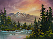 Tree Art Paintings - Mountain Sunset by C Steele