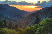 Gatlinburg Tennessee Posters - Mountain Sunset in the Smokies Poster by Coby Cooper