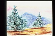 Pine Trees Tapestries - Textiles Metal Prints - Mountain Top Metal Print by Karen Buford