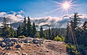 Landscape. Mountain Trees Water Bush Art - Mountain Top Sun Star by James Wheeler
