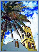 Puerta Vallarta Prints - Mountain town church Bell tower Palm and Blue Skies Print by Pamela Smale Williams