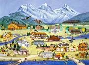 Canmore Artist Posters - Mountain Town of Canmore Poster by Virginia Ann Hemingson