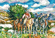 Original Cowboy Paintings - Mountain Trails by Claire Viger