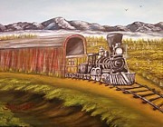 Railroad Snow Paintings - Mountain Train by Nancy Stewart