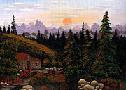 Mountain Cabin Painting Framed Prints - Mountain View Framed Print by Barbara Griffin