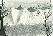 Autumn Landscape Drawings - Mountain View by Ubar Donia