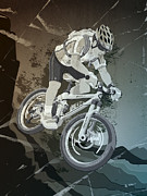 Mountainbike Sports Action Grunge Monochrome Print by Frank Ramspott