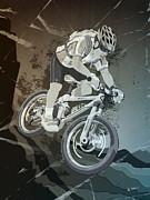 Mountainbike Sports Action Grunge Monochrome Print by Frank Ramspott