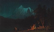 American Landscape Paintings - Mountainous Landscape by Moonlight by Albert Bierstadt