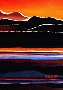 Fiery Paintings - Mountains Abstract by Karon Melillo DeVega