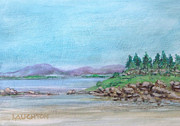 New England Ocean Mixed Media Prints - Mountains across the Bay Print by Peter Laughton