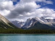 Rocky Mountains Mixed Media - Mountains and Lake Maligne by Janet Ashworth