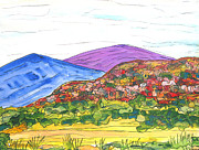 Watercolor Southwest Landscape Paintings - Mountains and South Mesa by Kerry  Bennett