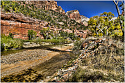 Zion National Park Framed Prints - Mountains and Virgin River - Zion Framed Print by Jon Berghoff