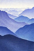 Blue Drawings - Mountains by Dirk Dzimirsky