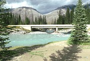 Gail Matthews - Mountains Green River under bridge