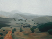 Mountain Road Pastels Prints - Mountains in the Mist Print by Nancy Helm