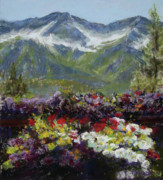Landscape. Scenic Pastels Framed Prints - Mountains of Flowers Framed Print by Mary Giacomini