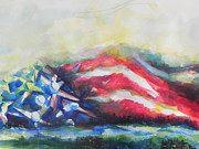 Abstract American Flag Paintings - Mountains of Freedom by Chrisann Ellis