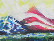 Abstract American Flag Paintings - Mountains of Freedom Two by Chrisann Ellis