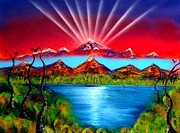 Spraypaint Painting Prints - Mountains of Vision Print by Daniel