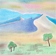Collagraph Pastels - Mountains by Soft Pastel Paintings