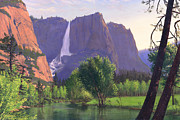Yellowstone Park Scene Prints - Mountains Waterfall Stream western mountain landscape oil painting Print by Walt Curlee