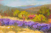Fragrant Painting Framed Prints - Mountainside Lavender   Framed Print by Talya Johnson