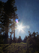 Crater Lake Sunset Photos - Mountainside Sunburst by Melanie  Lankford Photography