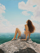 Realistic Painting Originals - Mountaintop Meditation by Holly Kallie