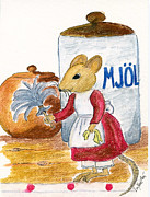 Mice Drawings Posters - Mouse cleaning Poster by Eva Ason