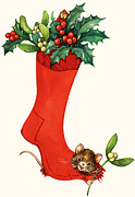 Mice Paintings - Mouse in a Christmas Sock by English School