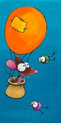 Hot Air Balloon Painting Posters - Mouse in his hot air balloon Poster by Lucia Stewart