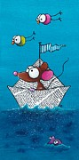 Illustrative Painting Prints - Mouse in his paper boat Print by Lucia Stewart