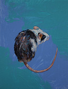 White Mouse Prints - Mouse Print by Michael Creese